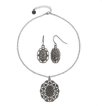 Liz Claiborne Gray Stone Silver-Tone Openwork Drop Earring and Necklace Set