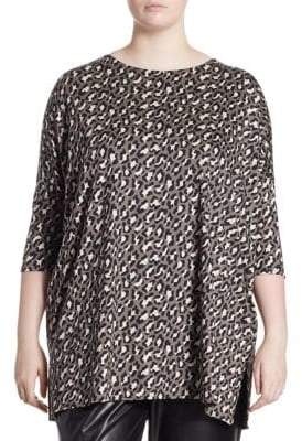 Caroline Rose Plus Animal-Print Knit Tunic