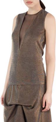 Akris Metallic Jersey Sleeveless Top with Tulle Inset, Gold