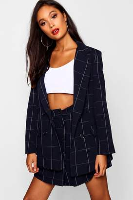 boohoo Woven Double Breasted Window Pane Check Blazer