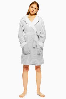 Topshop Silver Frosted Waffle Faux Fur Robe