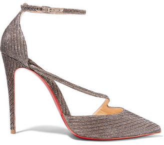 Christian Louboutin Fliketta 100 Glittered Canvas Pumps - Anthracite