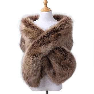 19V78 Fake Faux Fur Scarf Wrap Women's Neck Collar Wrap Winter Warm Shawl(grey)