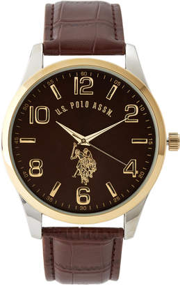U.S. Polo Assn. USC50225 Two-Tone Case & Brown Watch