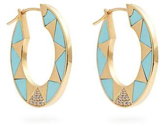 Marc Alary Diamond, Turquoise & Yellow Gold Earrings - Womens - Blue