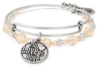 Alex and Ani Set of Two Crystal Love Expandable Charm Bangle Bracelets