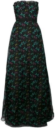 Rochas printed strapless dress