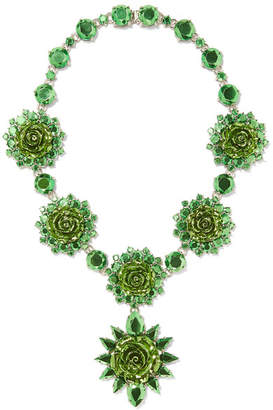 Prada Silver-plated Crystal Necklace - Green