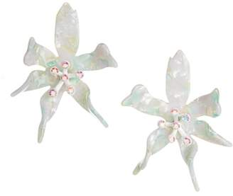 Lele Sadoughi Oversized Water Lily Crystal Earrings