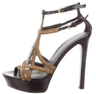 Burberry Raffia Platform Sandals
