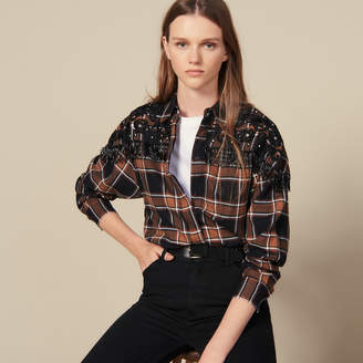 Sandro Checked Shirt With Western Embroidery