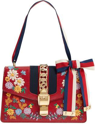 Gucci Small Sylvie Floral Embroidered Leather Top Handle Shoulder Bag