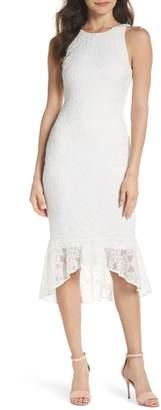 Ali & Jay Sparkling Rose Stretch Lace Midi Dress