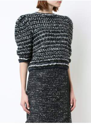 ADAM by Adam Lippes Hand-Knit Tweed Puff Sleeve Sweater