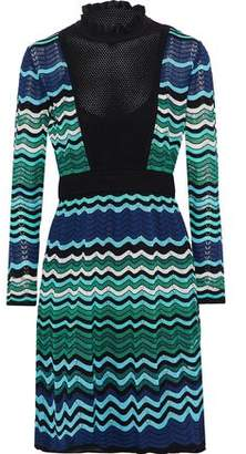 M Missoni Open Knit-Paneled Metallic Crochet-Knit Dress