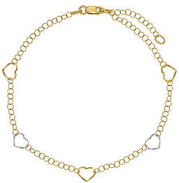 Nobrand NO BRAND Italian Gold Two-Tone Heart Stations Anklet 14K, 1.6g