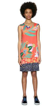 Desigual Short Sleeveless Floral Print Shift Dress