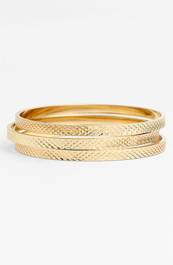 Nordstrom Textured Bangles (Set of 3)
