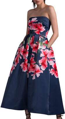 David Meister Strapless Fit-&-Flare Floral Dress w/ Pockets