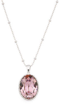 Sterling Silver Swarovski Crystal Antique Pink Oval Necklace
