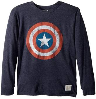 The Original Retro Brand Kids Captain America Long Sleeve Tri-Blend Tee Boy's T Shirt