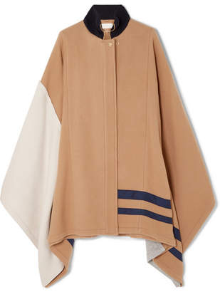 Chloé Color-block Wool-blend Cape - Beige