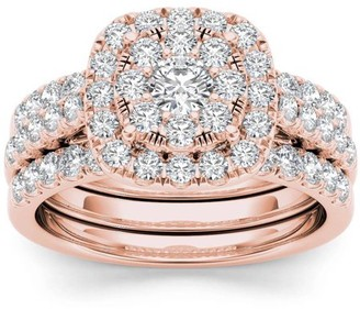 Imperial Diamond Imperial 1-1/2 Carat T.W. Diamond Single Halo Cluster Two-Band 14kt Rose Gold Engagement Ring Set