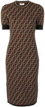 Fendi FF logo print fitted dress
