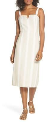 FIRST MONDAY Peekabo Stripe Midi Dress