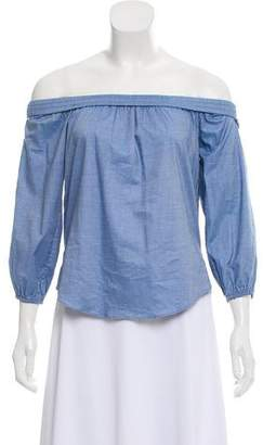Veronica Beard Off-The-Shoulder Chambray Top