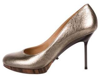 Lanvin Embossed Pointed-Toe Pumps