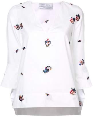 Prabal Gurung ruffle cuff embroidered blouse