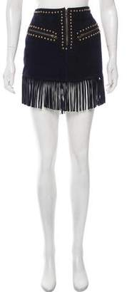 Understated Leather Fringe Mini Skirt