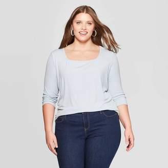 Ava & Viv Women's Plus Size Long Sleeve Square Neck Rib Top - Ava & VivTM