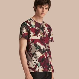 Burberry Abstract Floral Print Cotton T-shirt $225 thestylecure.com