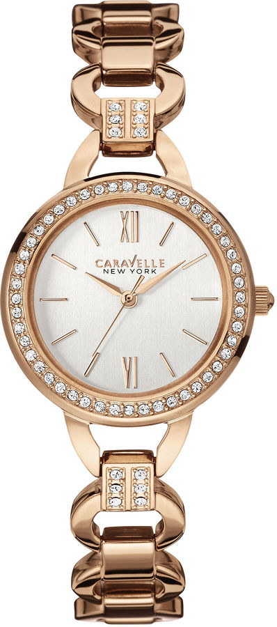 CARAVELLE, NEW YORK Caravelle New York Womens Crystal-Accent Open Link Bracelet Watch 44L163