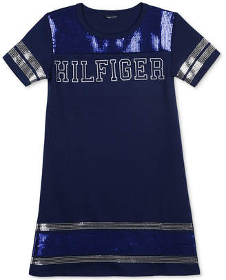 Tommy Hilfiger Big Girls Sequin-Trim Ponte-Knit Dress
