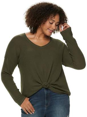 Mudd Juniors' Plus Size Waffle Tie-Front Long Sleeve Top