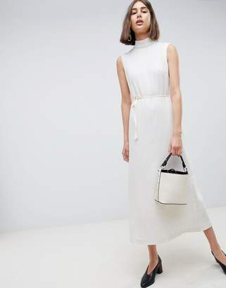 Asos Pleated Midaxi Dress With Tie Detail