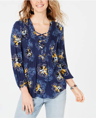 Style&Co. Style & Co Floral-Print Lattice Detail Boho Top