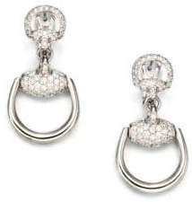 Gucci Horsebit Diamond & 18K White Gold Drop Earrings