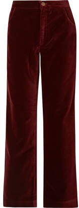 MiH Jeans Paradise Cotton-velvet Wide-leg Pants - Burgundy