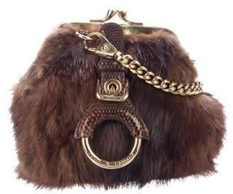 Dolce & Gabbana Sable & Snakeskin Chain-Link Evening Bag
