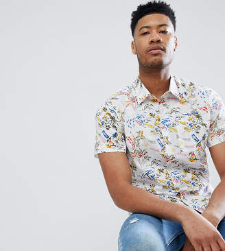 Bellfield TALL Short Sleeve Shirt With Hawaiian Print