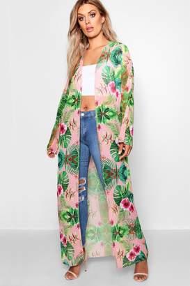 boohoo Plus Jill Tropical Printed Kimono