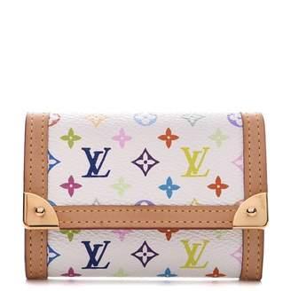 Louis Vuitton Coin Purse Porte Monnaie Plat Monogram Multicolor Blanc White