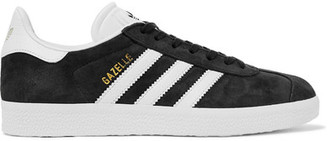 adidas Originals - Gazelle Suede And Textured-leather Sneakers - Black $80 thestylecure.com