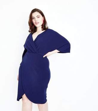 Yumi Curves Navy Wrap Front Kimono Sleeve Dress