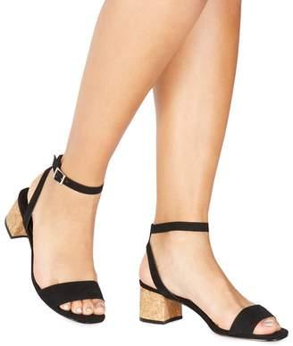 Faith Black Suedette 'Daenerys' Mid Block Heel Ankle Strap Sandals