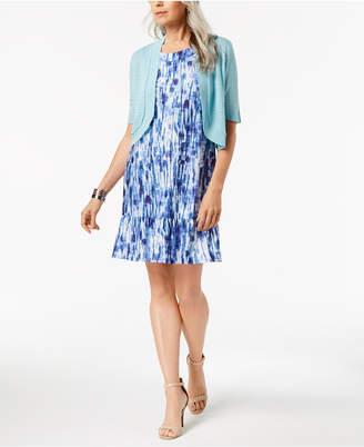 NY Collection Petite Ruffled Dress & Shrug